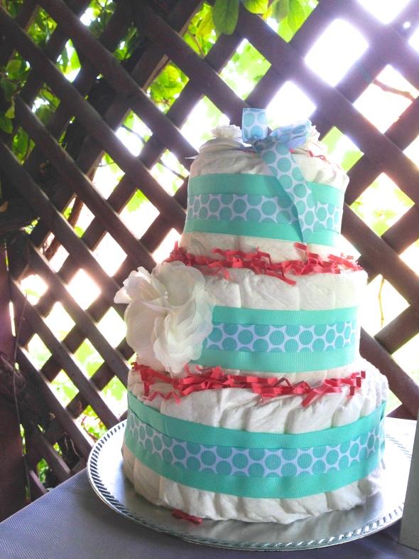Diaper Cake, Flower & Shoes